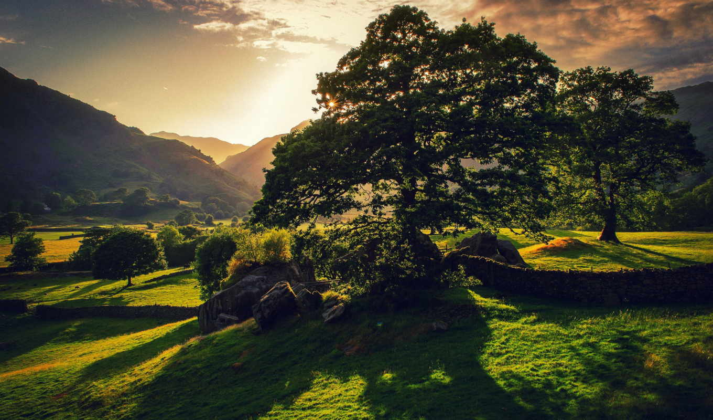 green, sunset, landscape, resolution, природа,