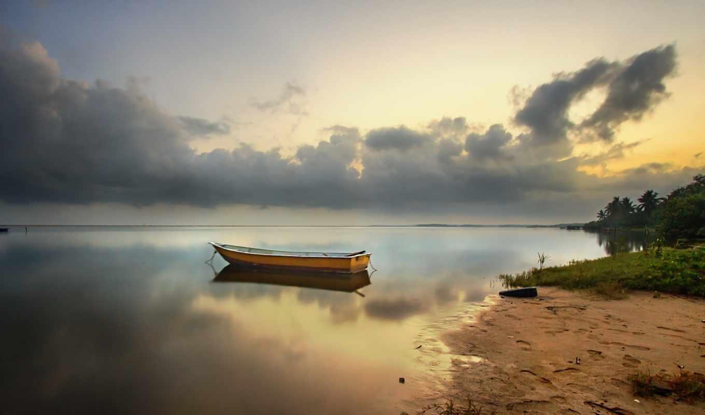 пляж, лодка, рассвет, природа,