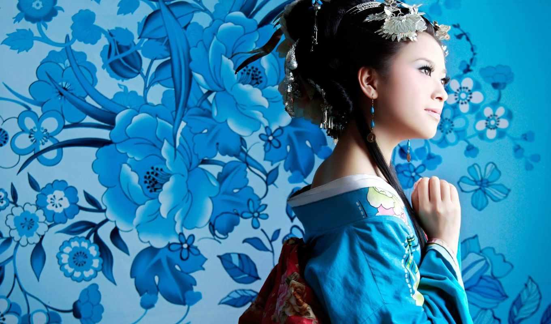 девушки, японии, девушка, цветы, кимоно, нечто, свой, дня, ago, гейша,