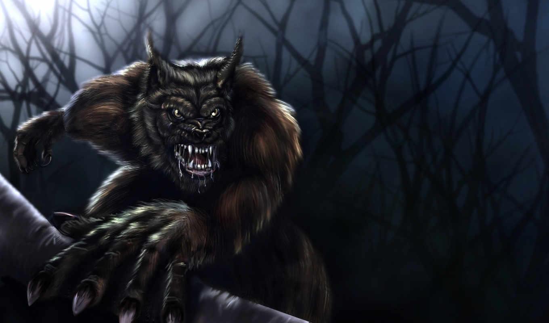 werewolf, широкоформатные, оборотни, фантастика, волк,