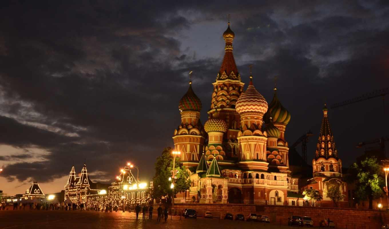 город, москва, россия, города, храм, площадь, василия, блаженного, ночь,