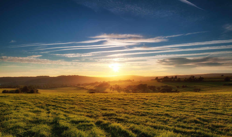 поле, закат, природа, картинка, раздолье, трава, небо, sun,