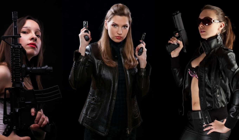 devushki, трио, оружие, пистолеты, conviction, девушка, акпп, оружием,