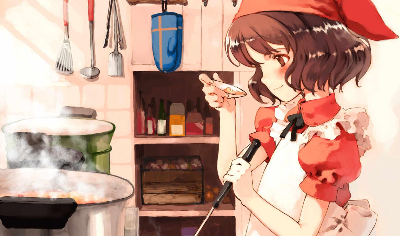 аниме, кухня, утварь, девочка, повар, картинка, picsfab, фабрика,