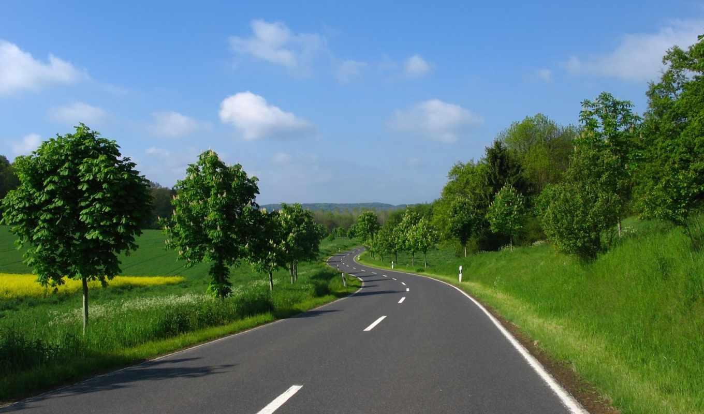 лето, трава, поляна, облака, зелень, небо, деревья, road, природа, desktop, картинка,