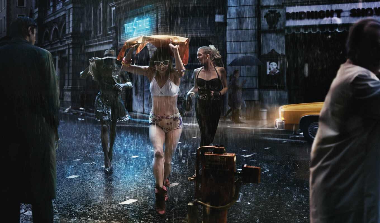 улица, зонты, девушки, плащи, мужчины, дождь, радость, картинка, ray, bạn,
