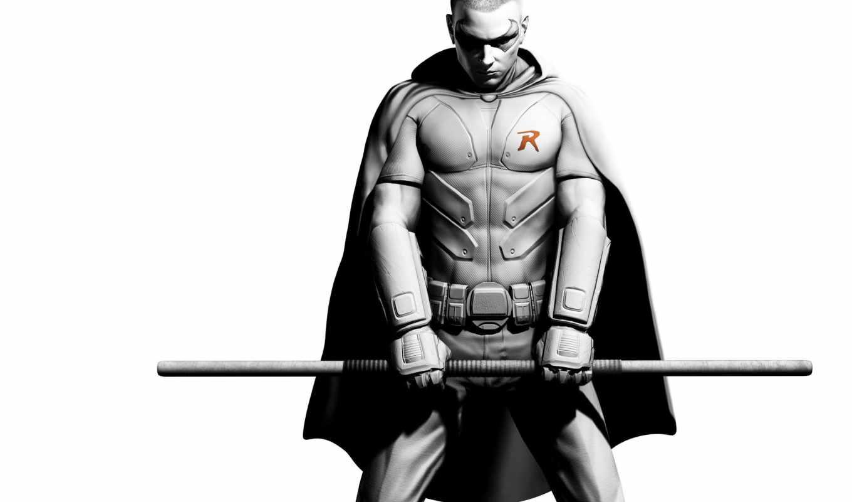 batman, city, arkham, робин, игра, бэтман, комикс, персонаж, палка, оружие, руки, чб, робина,