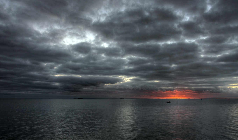 небо, тучи, закат, море, sun, картинка,