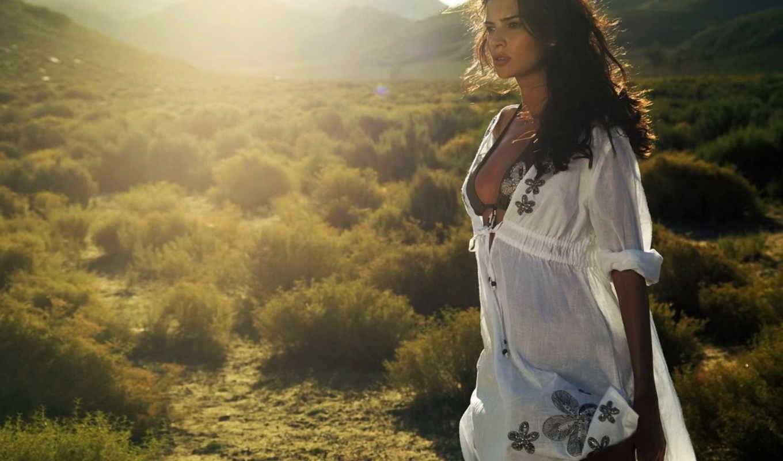 девушка, sun, солнца, лучах, взгляд, платье,