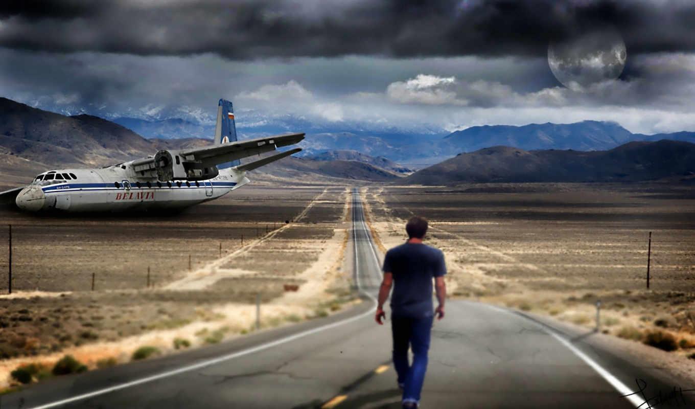 мужчина, дорога, горы, самолёт,