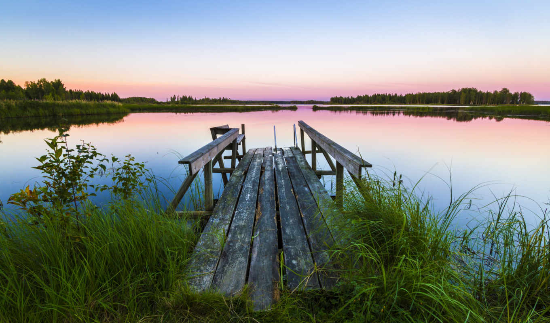 landscape, мост, трава, озеро, камыш, закат,