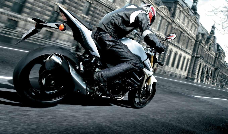 мотоцикл, город, мотоциклист, мотоциклы, suzuki, мотоцикла, городе,