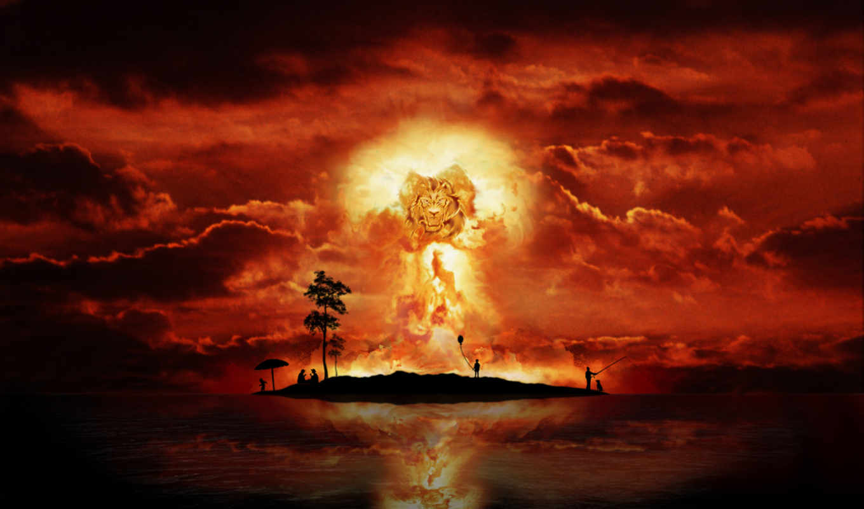 bang, nuclear, оскалом, львиным,