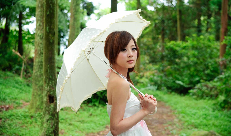 девушка, зонтом, devushki, зонтик, под, белым, taiwan, зонтиком, природа,
