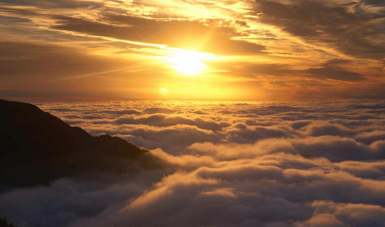 sun, со, облаками, закат, горы, небо, oblaka,