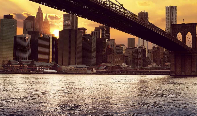 new, york, building, water, мост