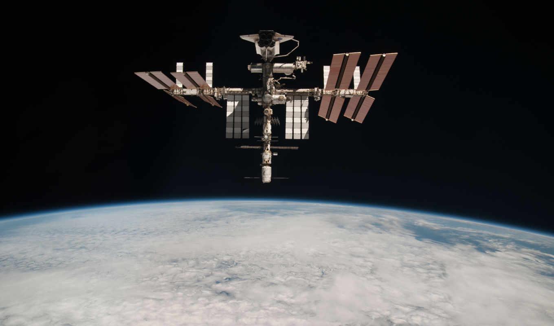 космос, мкс, планета, шатл, бездна, станция, атмосфера, облака,