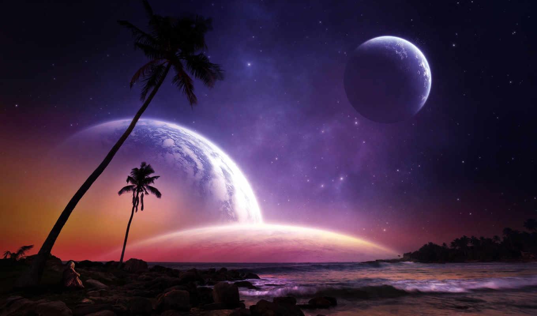 луна, звезды, небо,