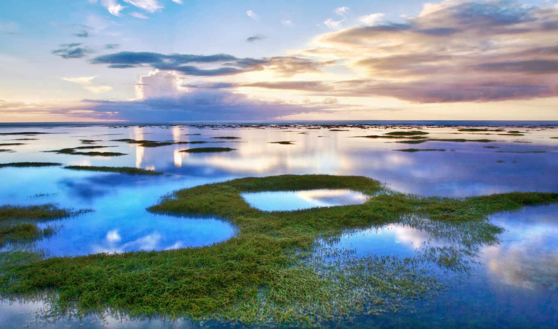 облака, вода, небо, лагуна, трава, водоема, пейзажи, max, озера, clouds, reflection, nature, картинку, картинка,