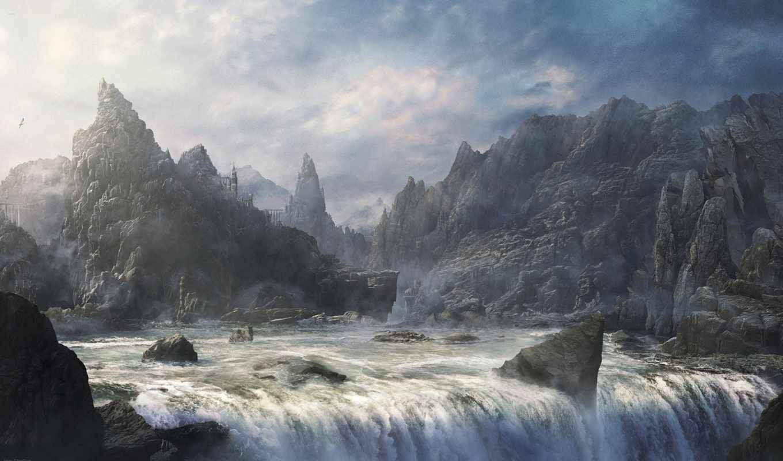 горы, скалы, водопад, город, фэнтези, небо, река, облака,