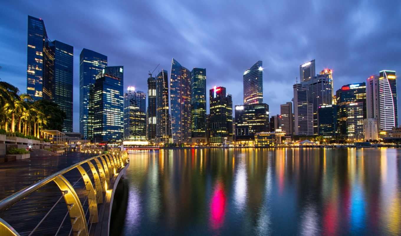 singapore, город, bay, gardens, malaysia, state, картинка, мегаполис, ночь,