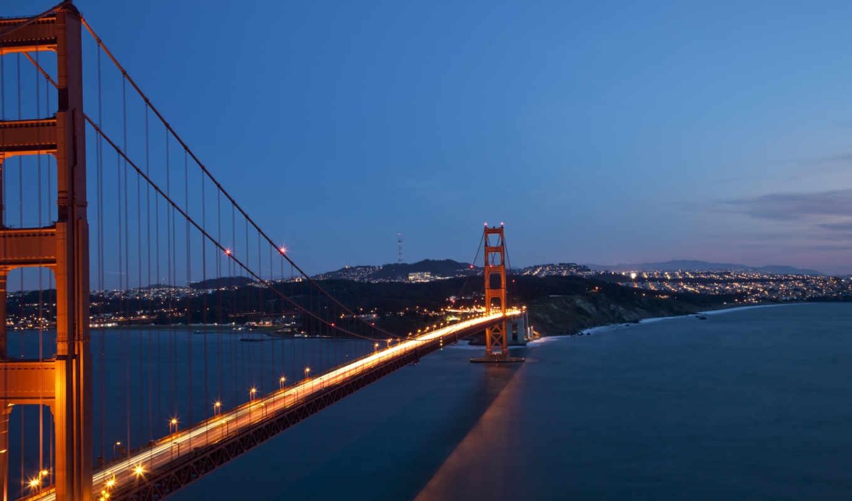 мост, francisco, san, дверь, золотые, города, огни, город,