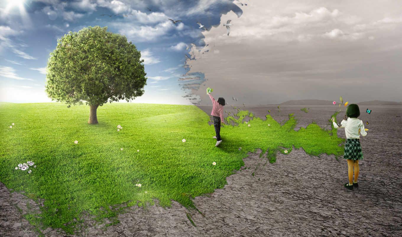 дерево, children, поле, детей, картинка, rendering, midrevv, trees,