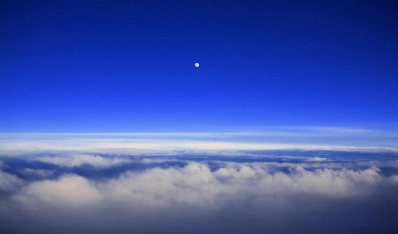 clouds, moon, облака, sky, over, природа, смотрите, horizon,