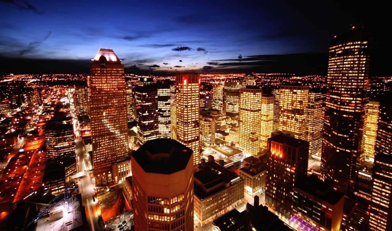 огни, ночь, небоскребы, calgary, картинка, смотрите,