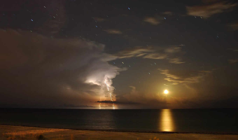 молния, луна, залив, мексиканский, звезды, антарес, maria, island, anna, florida, гроза, тучи, море, небо, водная, гладь, горизонт,