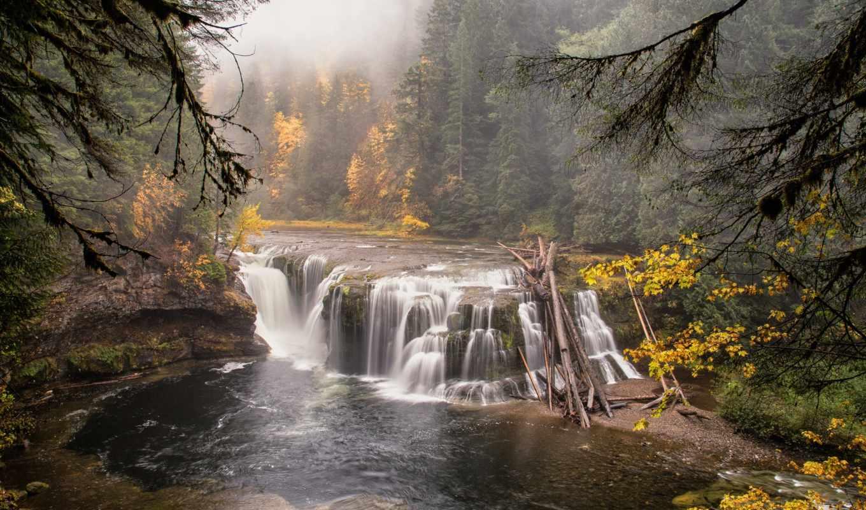 водопад, природа, лес, река,
