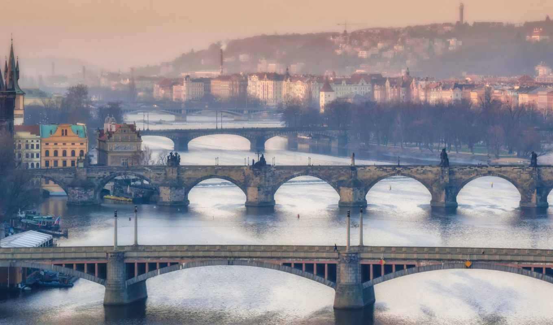 прага, мосты, река, дома