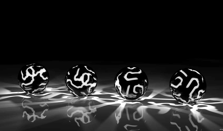 чёрно, белые, красные, шары, узоры, свет, чб,