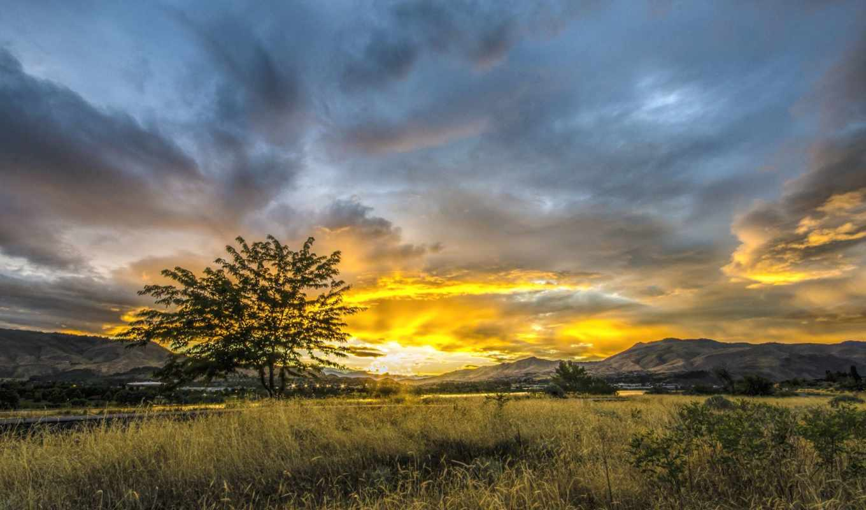 закат, sun, небо, трава, дерево, город, горы, долина,