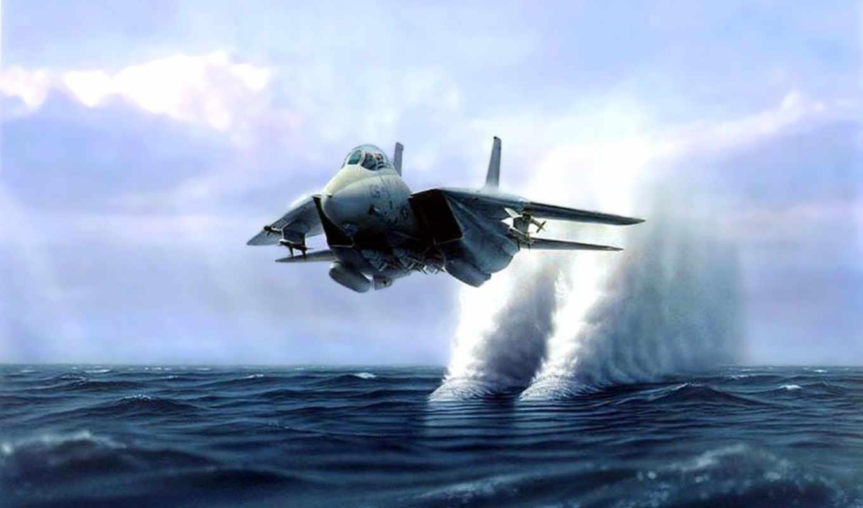 со, истребитель, водой, самолёт, истребителя, низко,