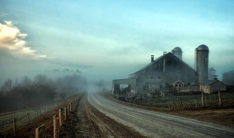 дорога, туман, забор, пейзаж, hdr, картинка,