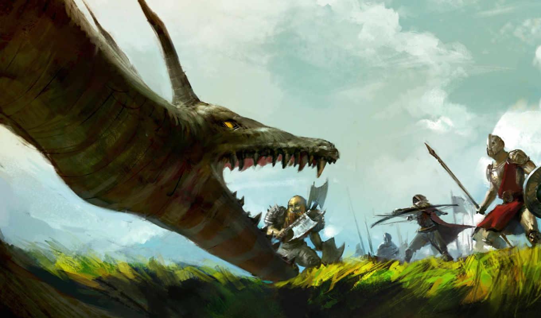 арт, лучник, дракон, люди, фантастика, оружие, mazert, битва, гном,