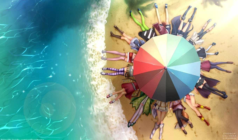 аниме, пляж, да,