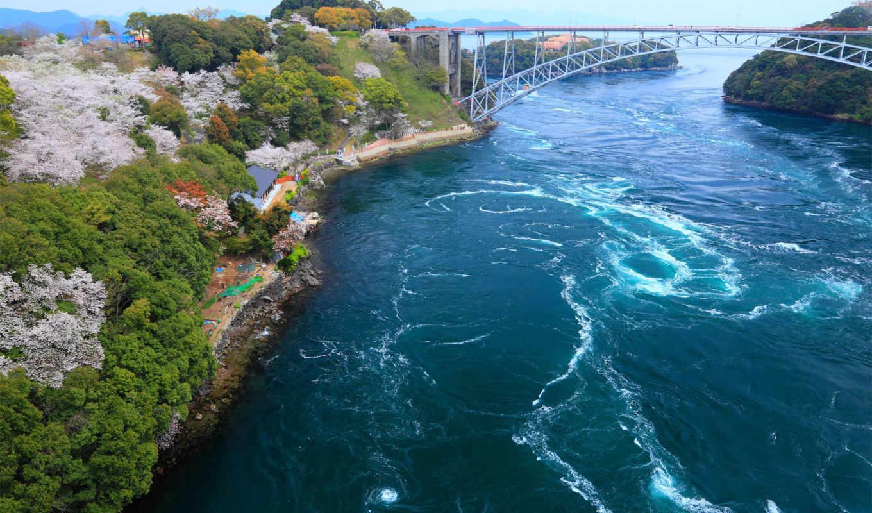 япония, мост, залив, побережье, река, берег,