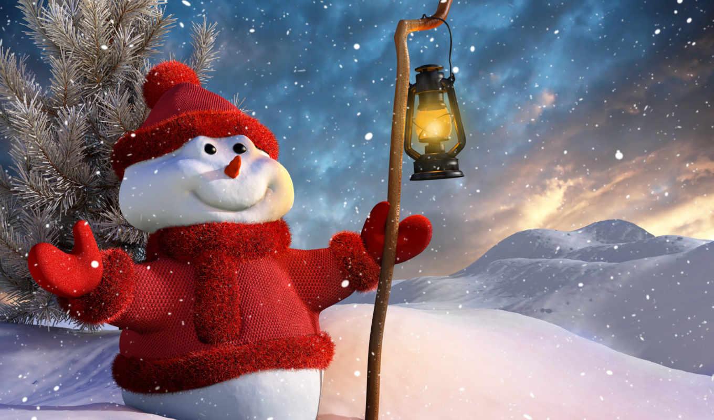 new, год, winter, снеговик, christmas, взгляд, лампа, дерево, дек, снег, картинка,