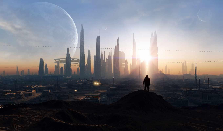 город, будущее, human, fantastic, миро, небо, building, stand, фон, свет