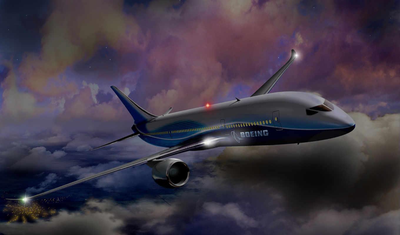 boeing, облака, night, полет, dreamline,