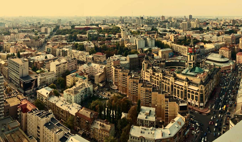 киев, город, дома, панорама, здания, высота, улица, украина, view,