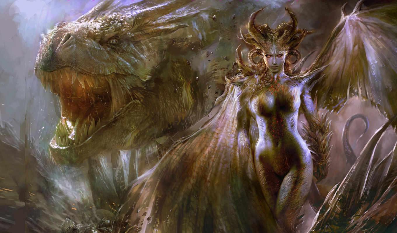 fantasy, дракон, tony, kokhan, смауг, драконы, разделе, девушка,