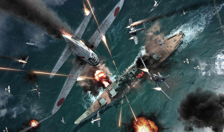 war, world, second, самолёт, корабли, water, взрывы, ocean, огонь, shooting, пули,