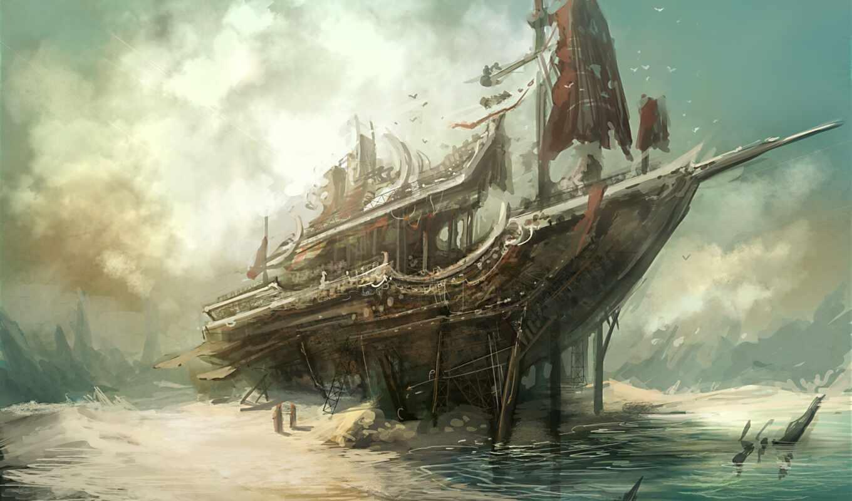 корабль, art, sail, плакат, print, море