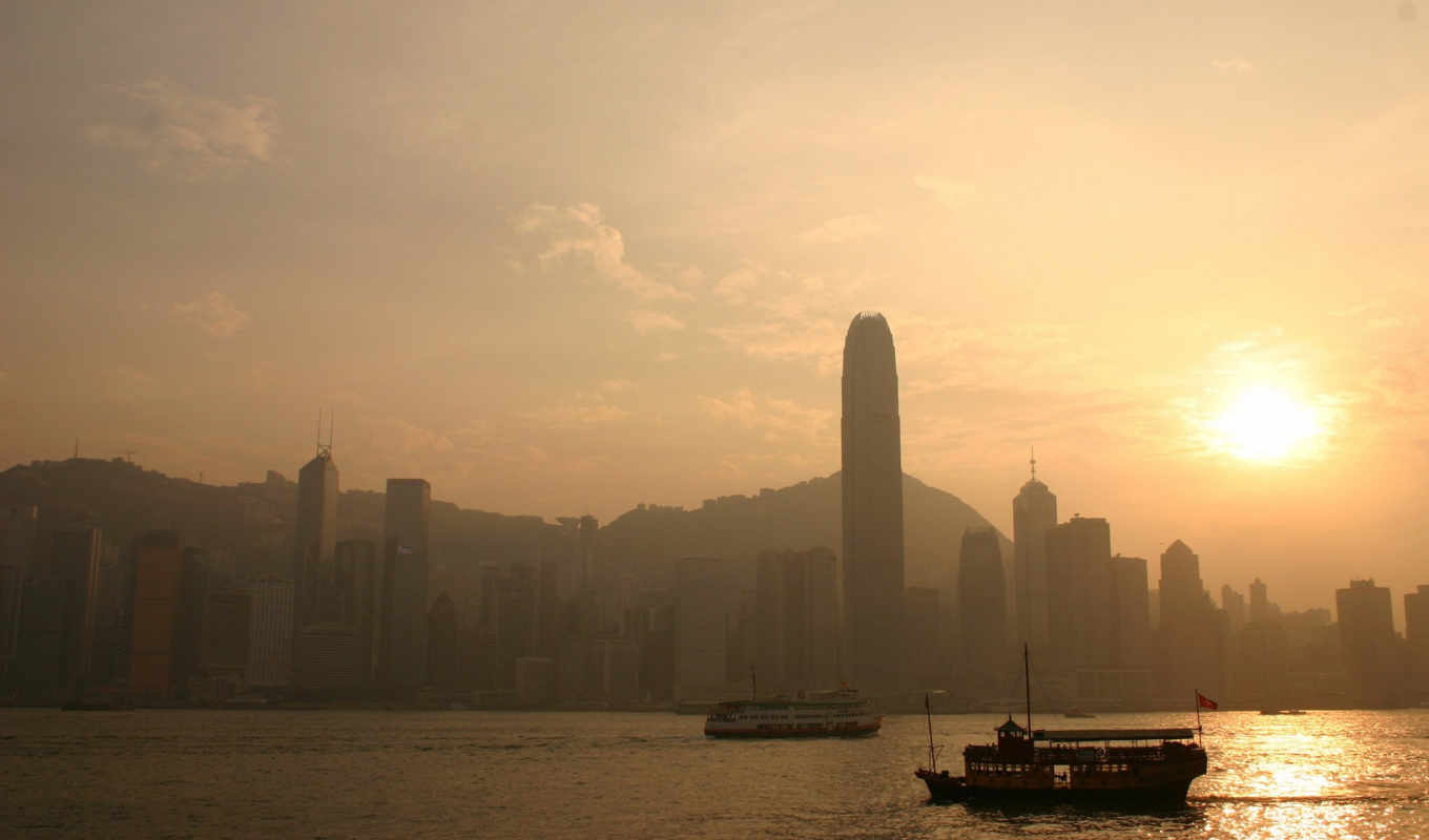 , sky, sunset, hong, kong,