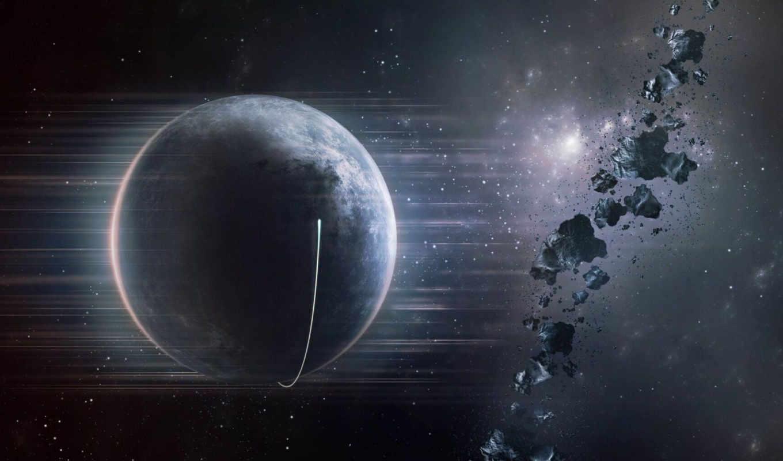 планета, астероиды, звезды, космос, spaceship, оригинал,