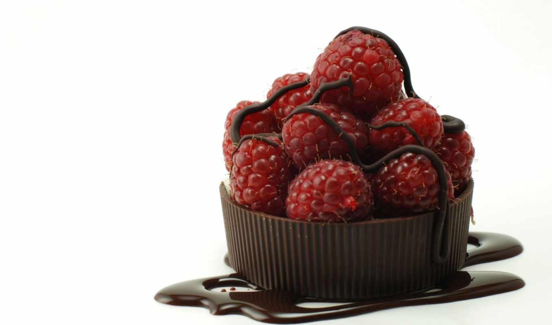 белый, ягоды, малина, шоколад, шоколаде,
