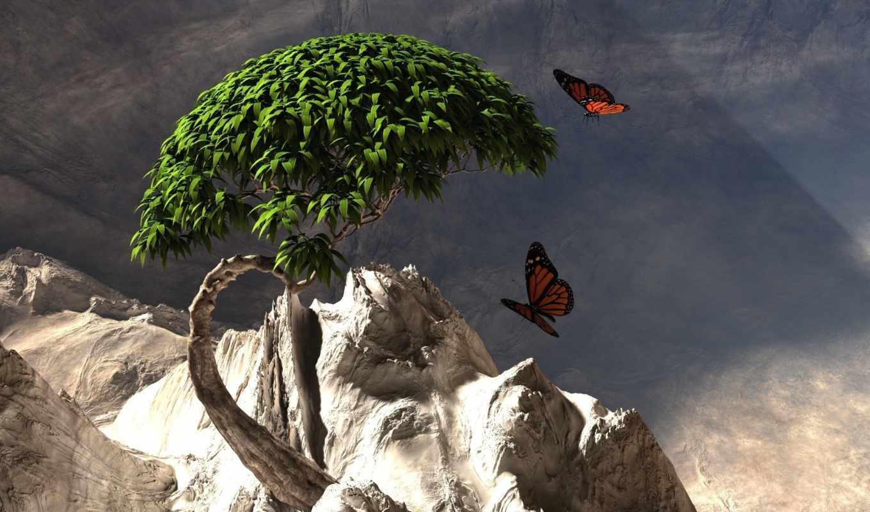 бабочки, дерево, графика, горы,
